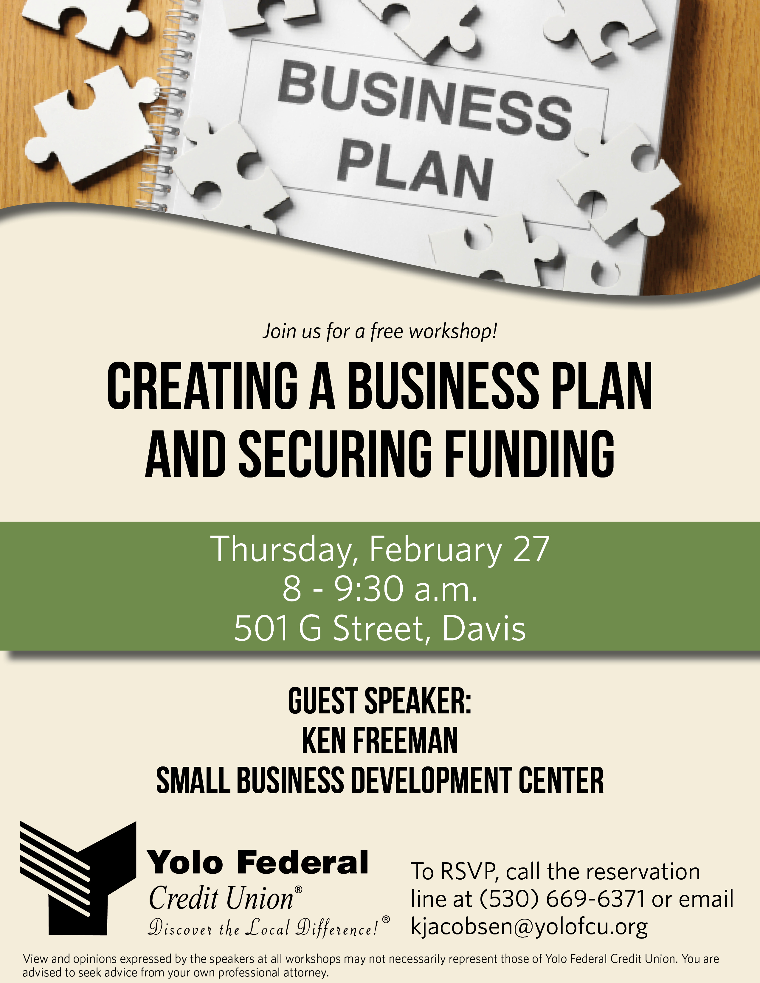 Yolo FCU Workshop-Creating a Business plan and Securing Funding